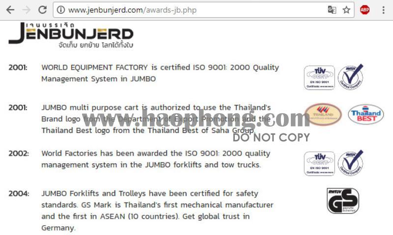 Jenbunjerd là công ty sản xuất và quản lý nhãn hiệu xe đẩy hàng JUMBO của Thái Lan