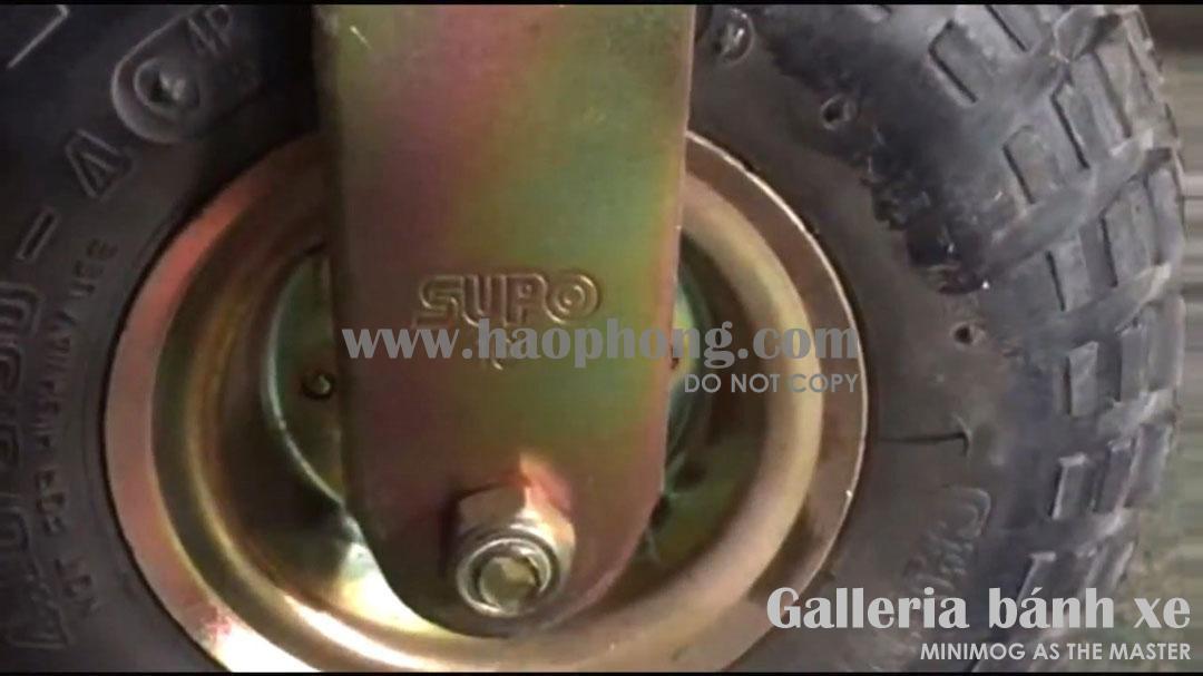 Bánh xe SUPO cao su lốp hơi, mác Cheng Shin (loại cố định)