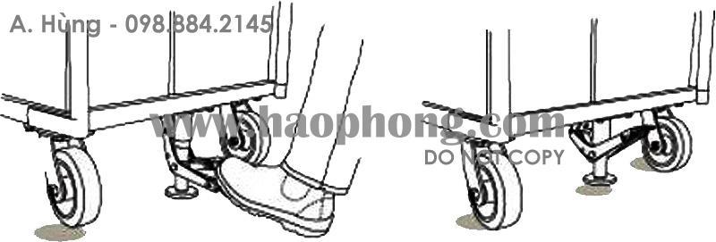 Thao tác sử dụng khóa sàn xe đẩy